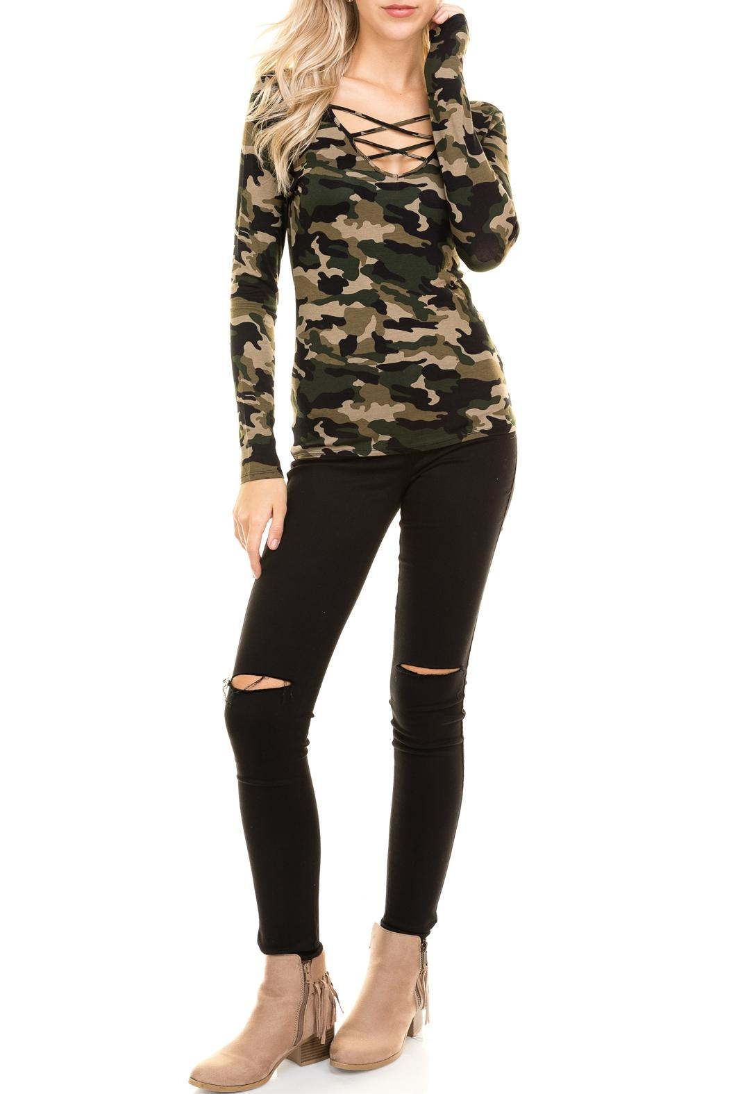 Heart and Hips CrissCross Camouflage Top - Main Image