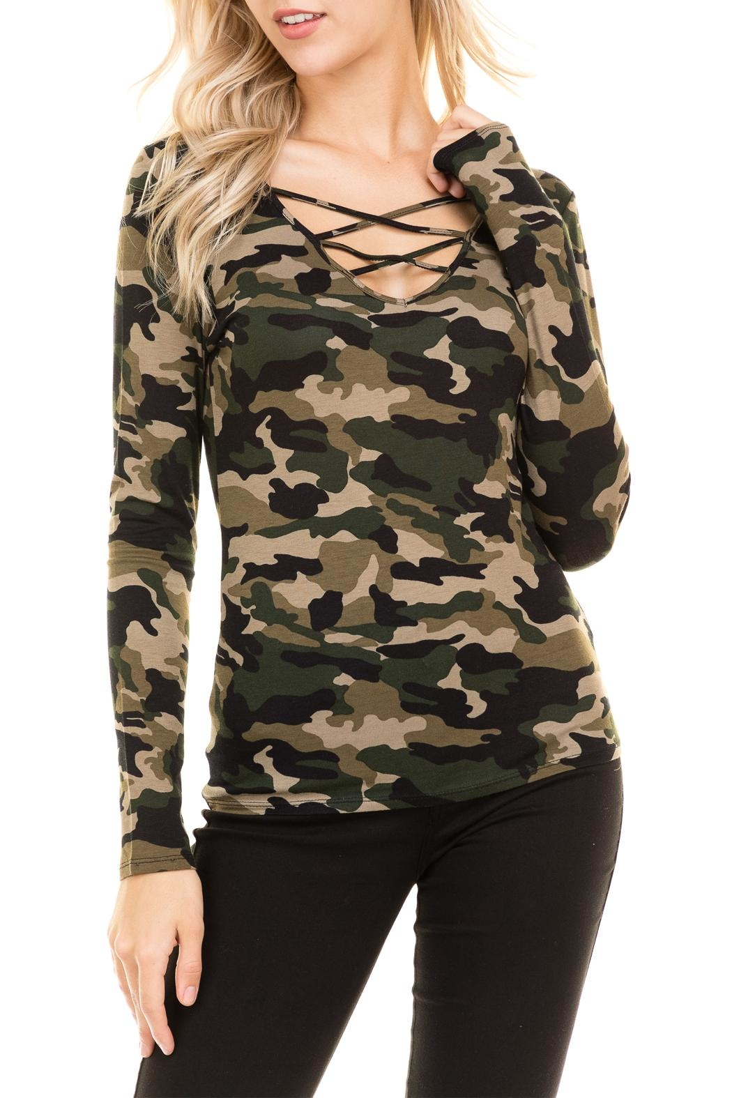 Heart and Hips CrissCross Camouflage Top - Front Full Image