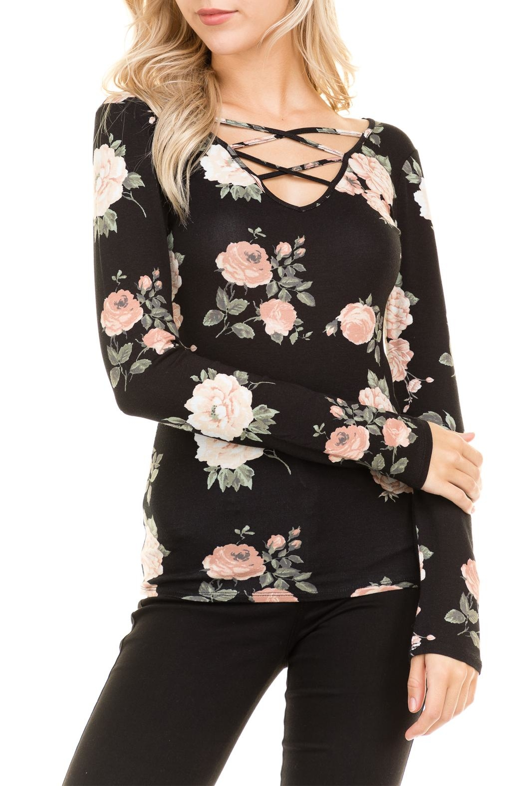 Heart and Hips Floral Lace Up Top - Front Full Image