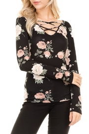 Heart and Hips Floral Lace Up Top - Front full body