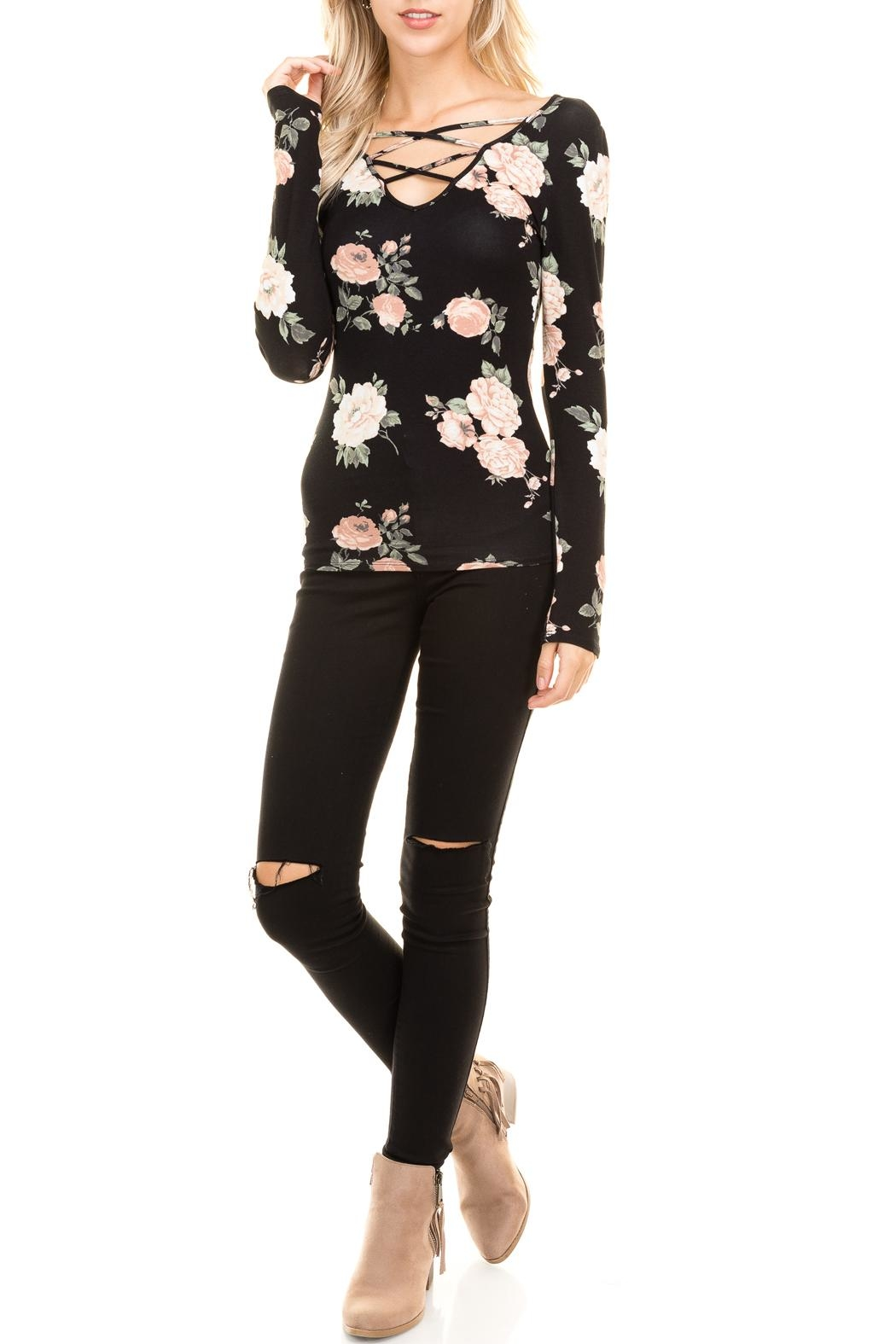 Heart and Hips Floral Lace Up Top - Main Image