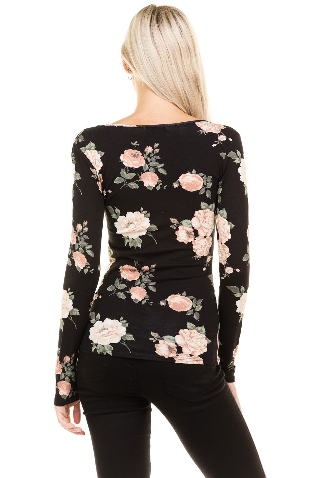 Heart and Hips Floral Lace Up Top - Back Cropped Image