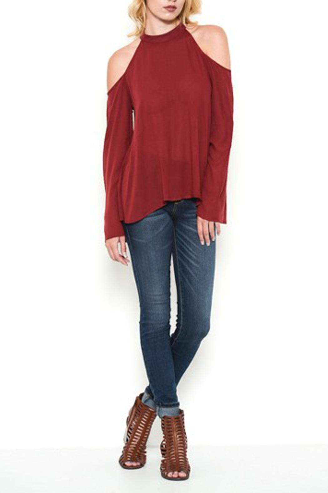 Heart and Hips Open Shoulder Top - Side Cropped Image