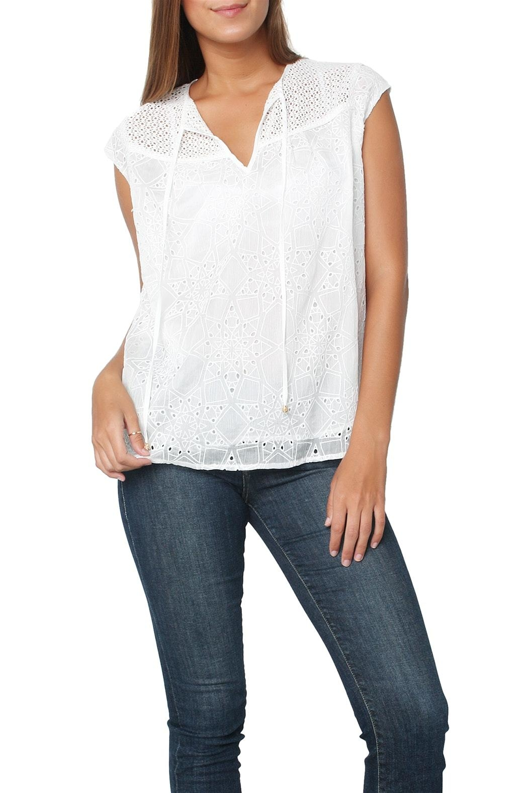 Heartloom Imogen Eyelet Top - Front Cropped Image