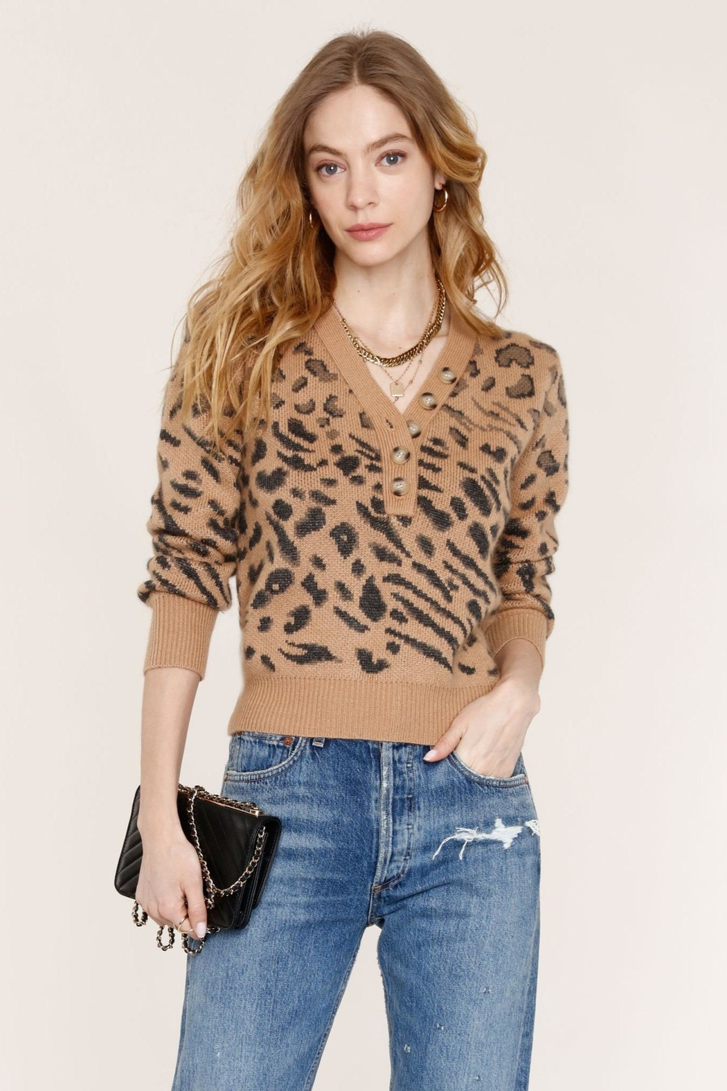 Heartloom Leopard Print Sweater - Front Full Image
