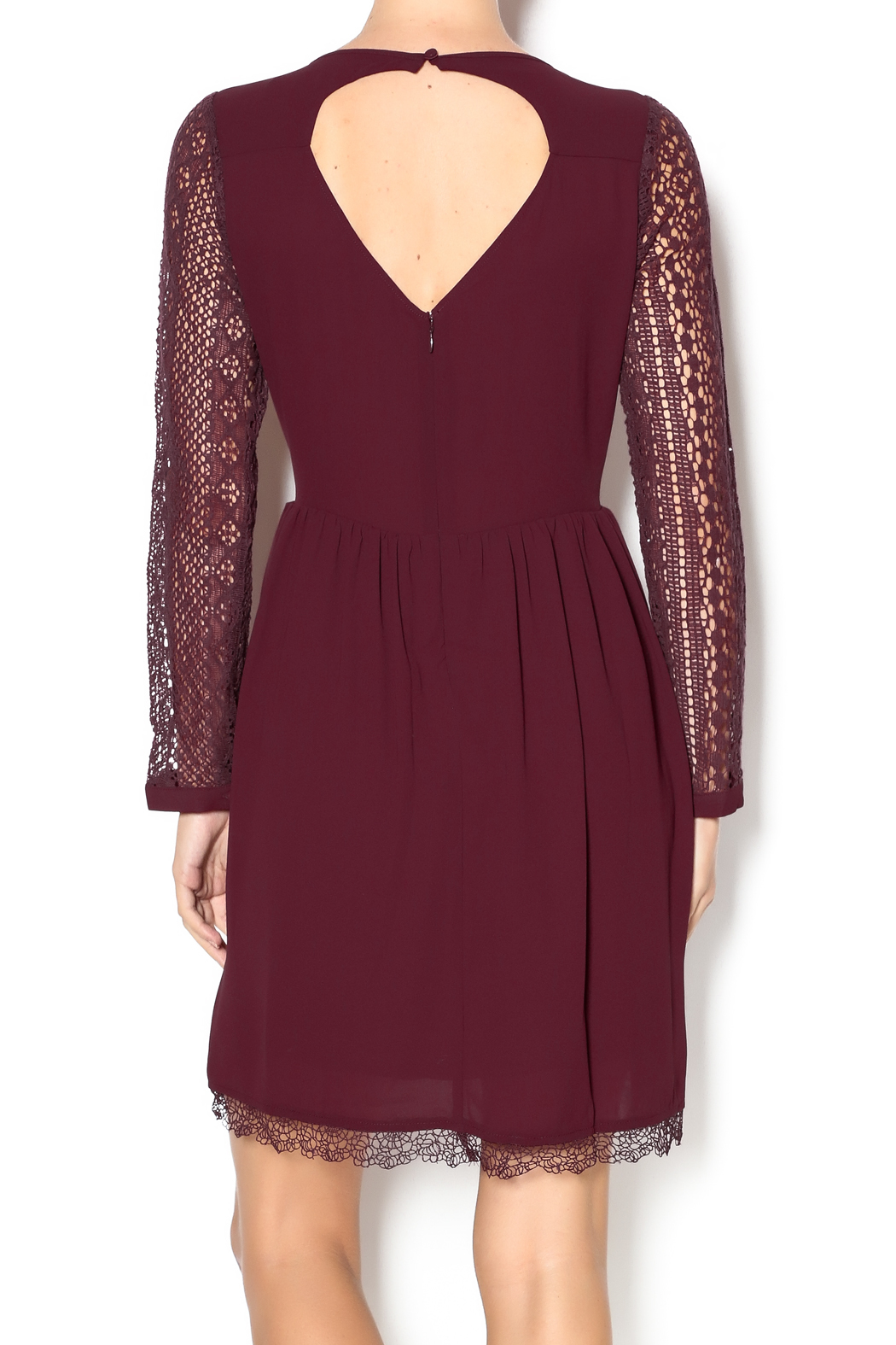 Heartloom Merlot Lace Dress - Back Cropped Image