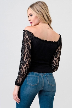 Hearts & Hips Black Lacey Sleeve Blouse - Alternate List Image