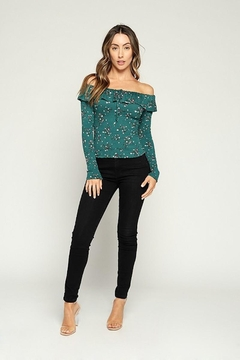 Hearts & Hips Floral Ruffle Smocked Top - Alternate List Image