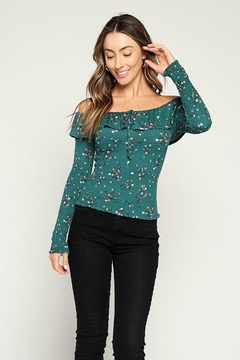 Hearts & Hips Floral Ruffle Smocked Top - Product List Image