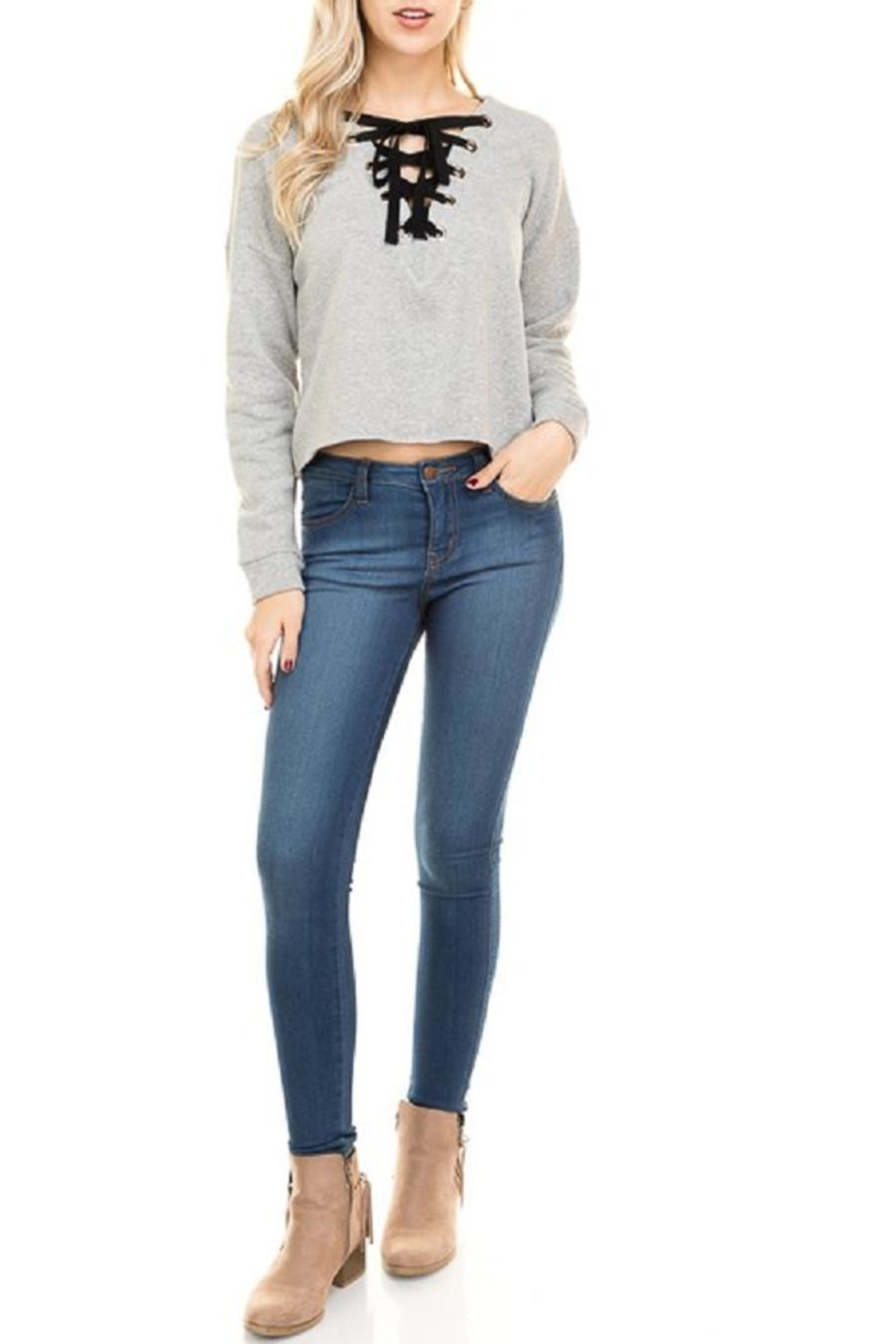 Hearts & Hips Lace Up Sweatshirt - Front Cropped Image
