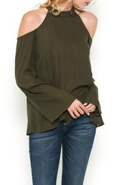 Hearts & Hips Olive Shoulder Blouse - Product Mini Image