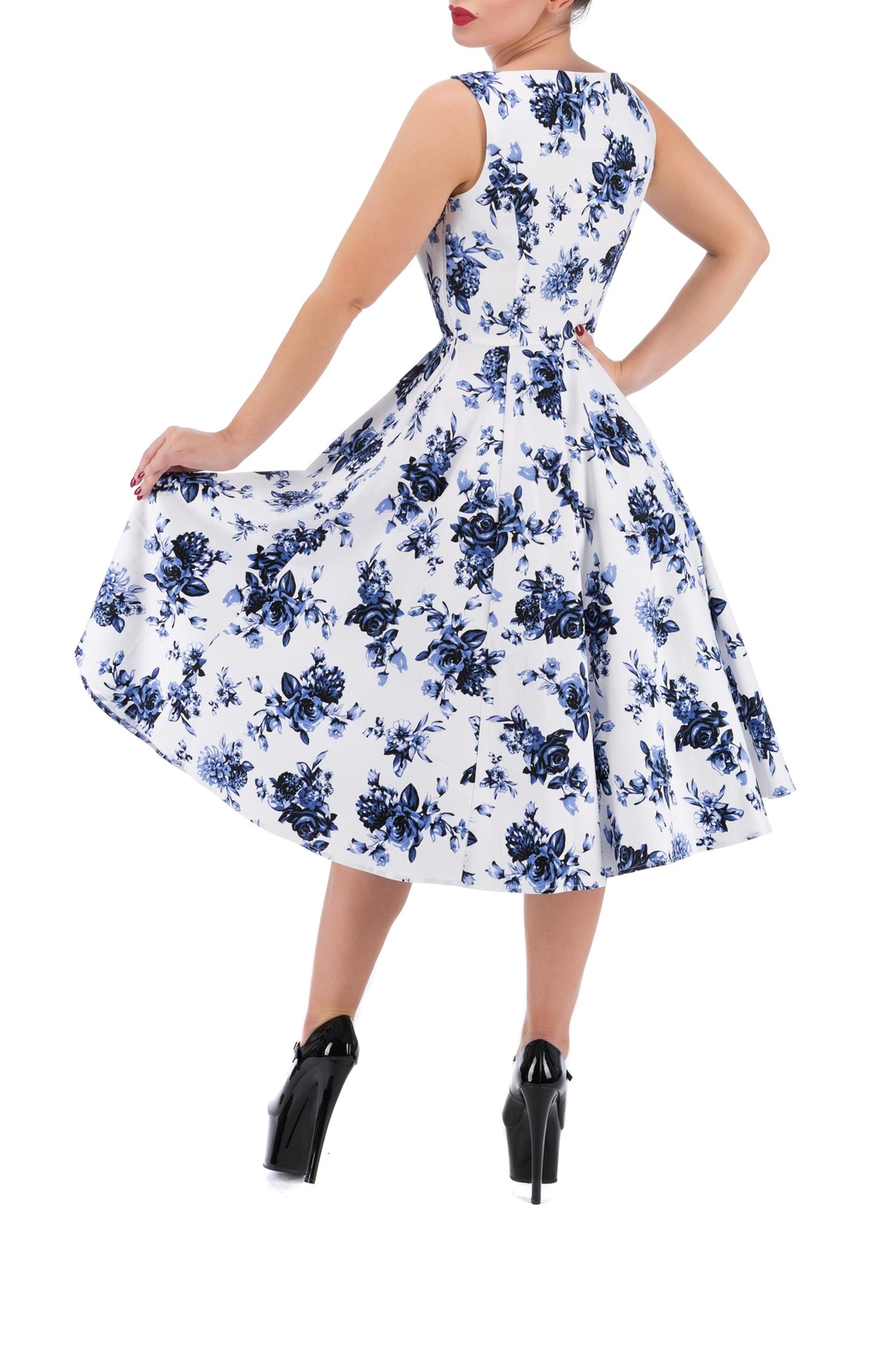 Hearts and Roses Vintage Blue Florals - Front Full Image