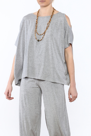 Heartstring Grey Cold Shoulder Top - Front cropped