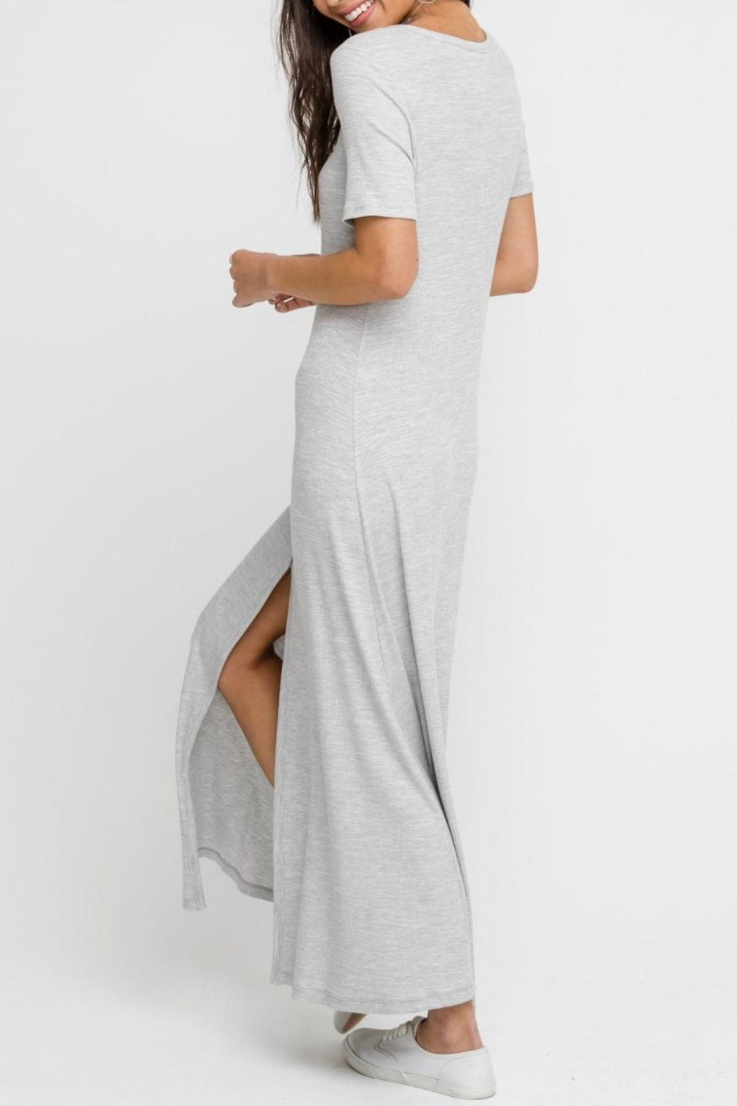 Lush Heather-Grey Button-Down Dress - Back Cropped Image
