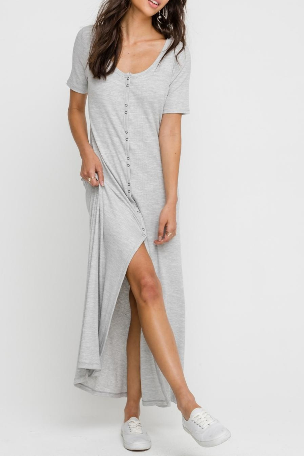 Lush Heather-Grey Button-Down Dress - Side Cropped Image