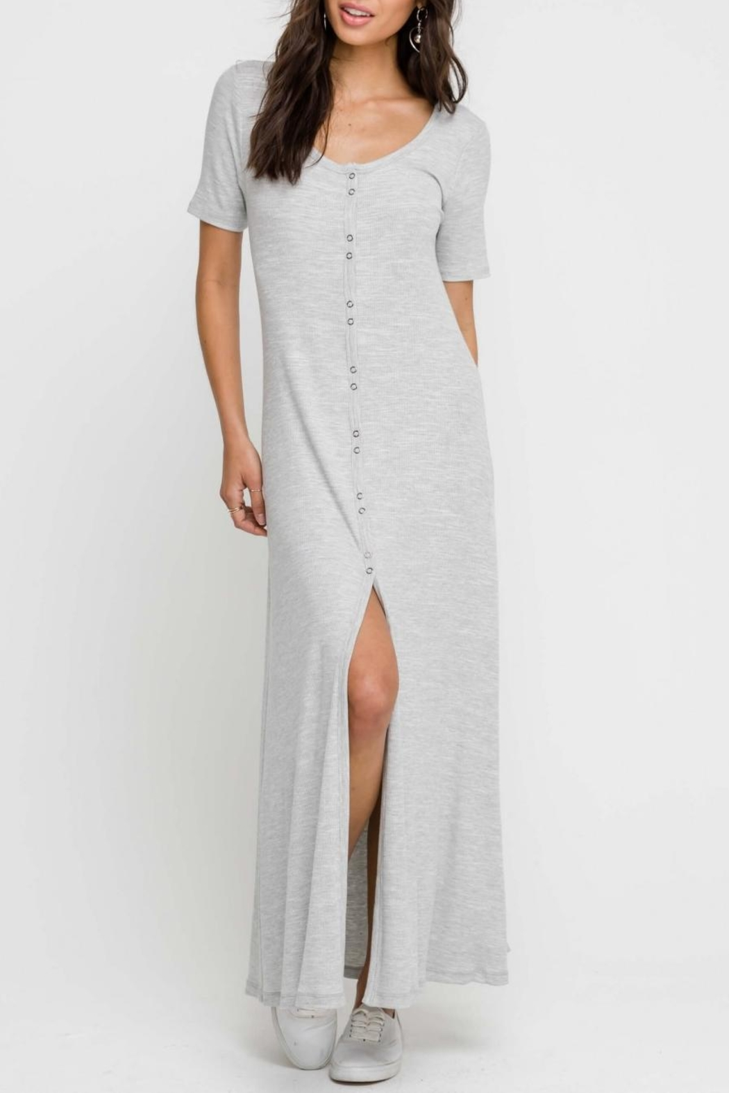 Lush Heather-Grey Button-Down Dress - Front Full Image
