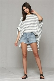 By Together  Heather Grey Stripe Oversized Top - Product Mini Image