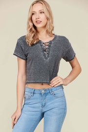 Heart & Hips Heather Lace-Up Top - Product Mini Image