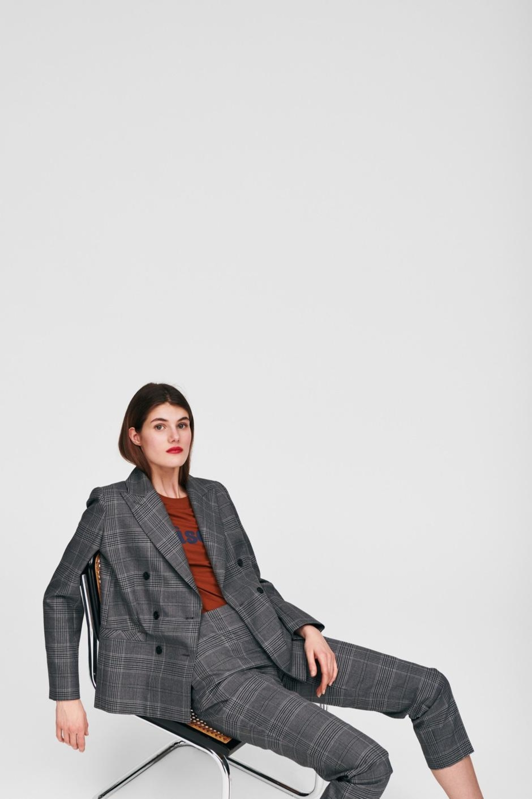 Tara Jarmon Heather Plaid Blazer - Main Image