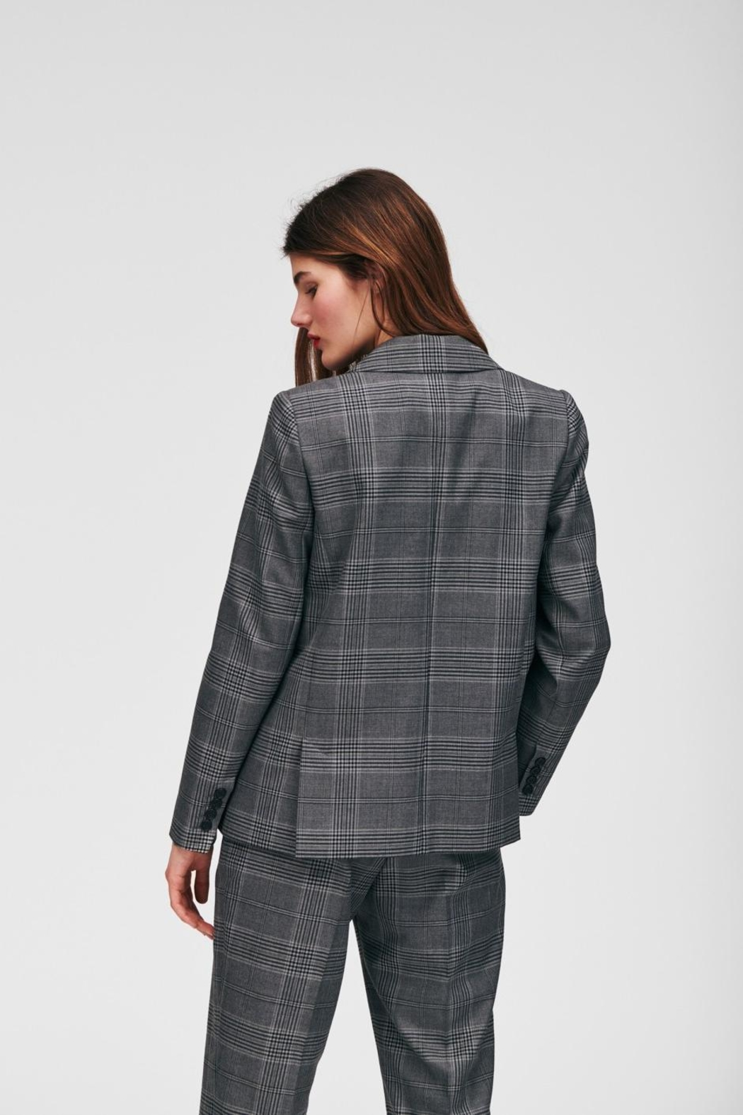 Tara Jarmon Heather Plaid Blazer - Back Cropped Image