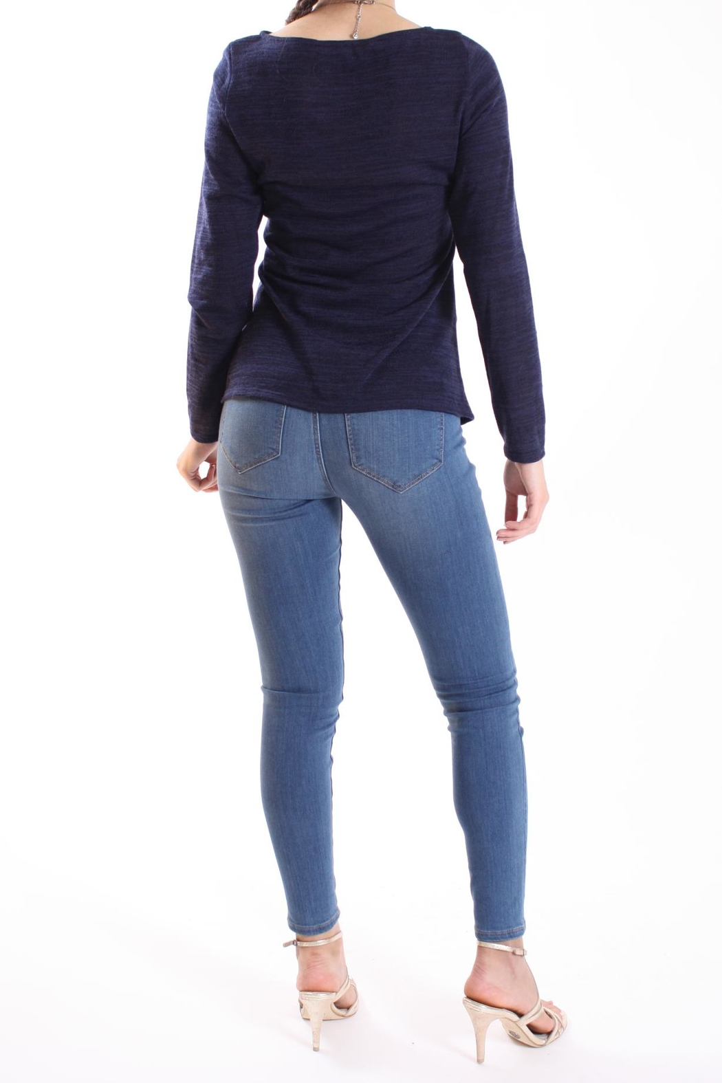 Talk of the Walk Heather Ruched Sweater - Back Cropped Image
