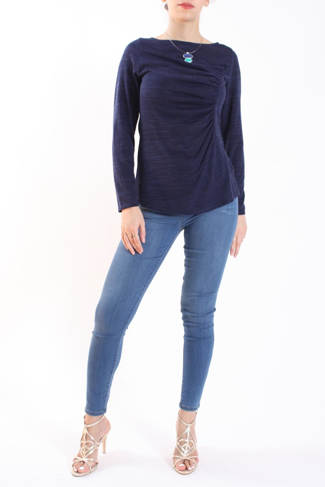 Talk of the Walk Heather Ruched Sweater - Front Full Image