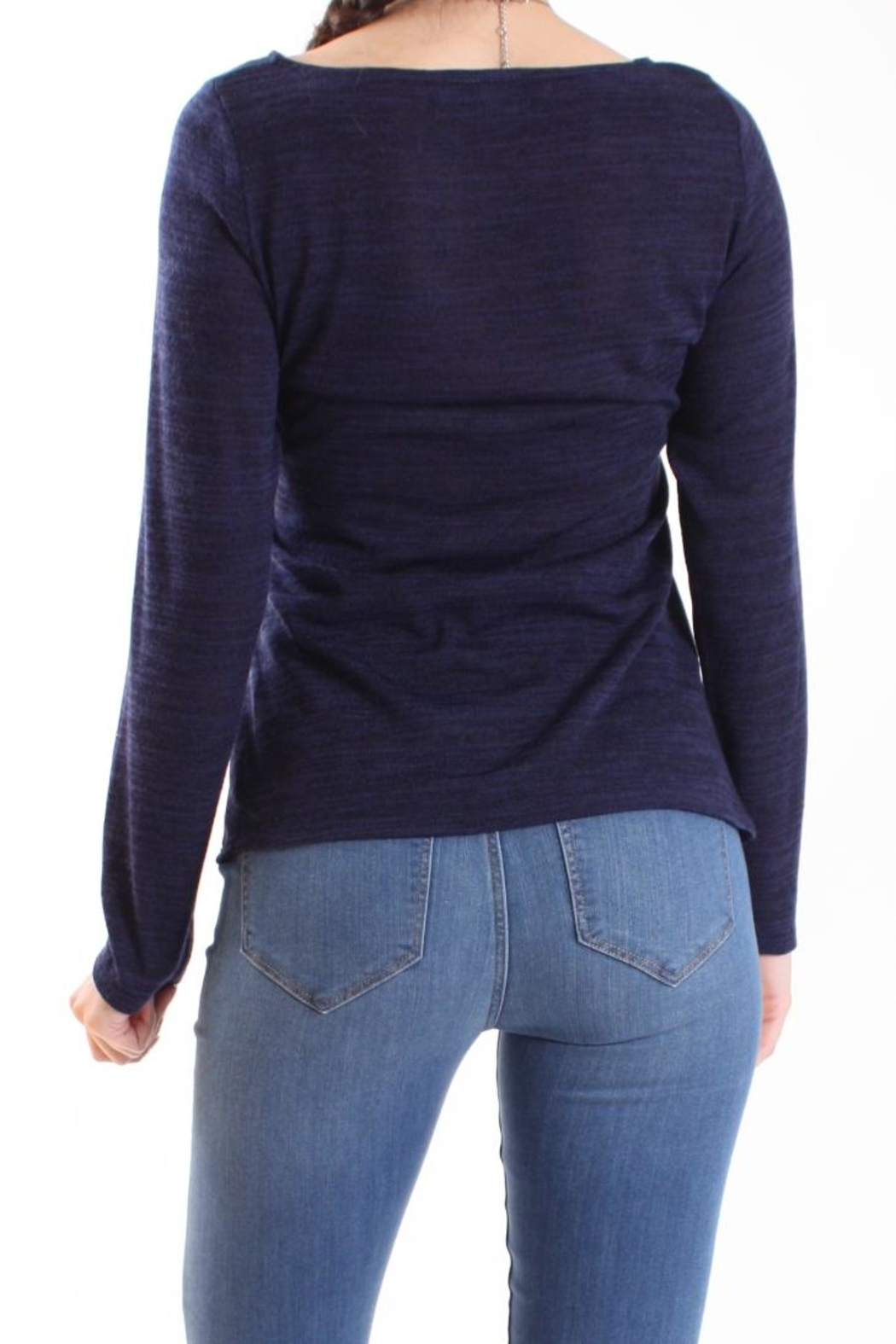 Talk of the Walk Heather Ruched Sweater - Side Cropped Image