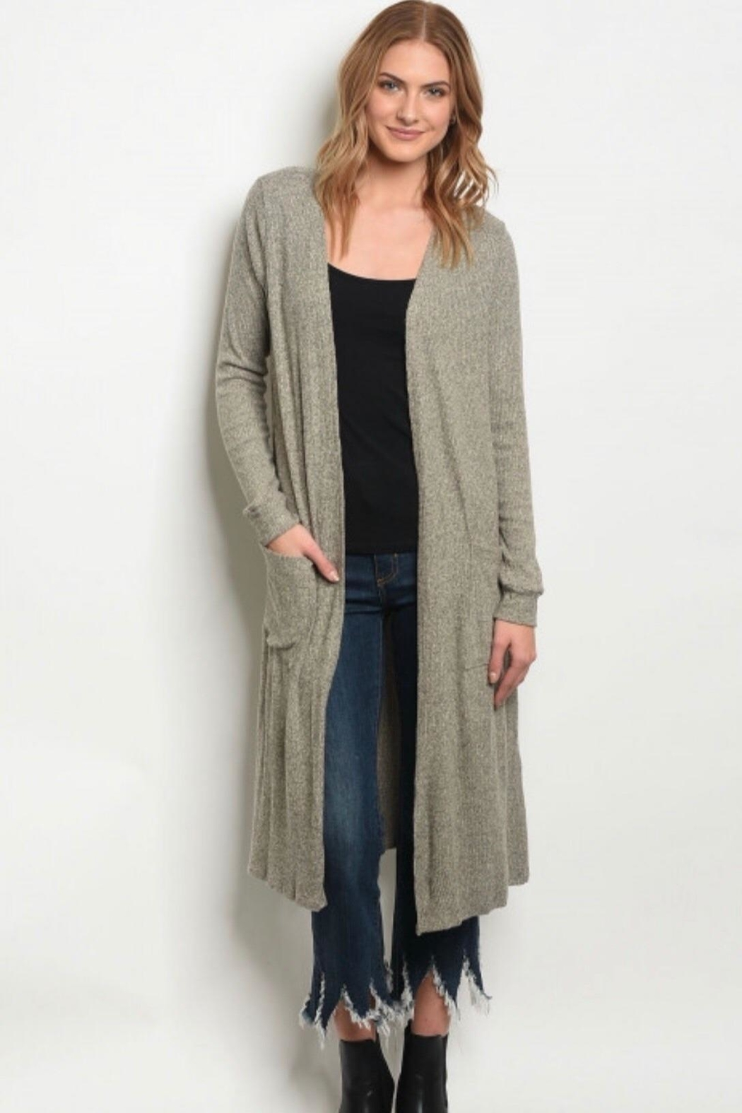 Gilli Heather Taupe Cardigan - Front Cropped Image