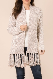 Simply Noelle Heathered Fringe Cardigan - Front cropped