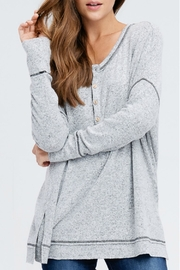 In Loom Heathered Henley Top - Product Mini Image