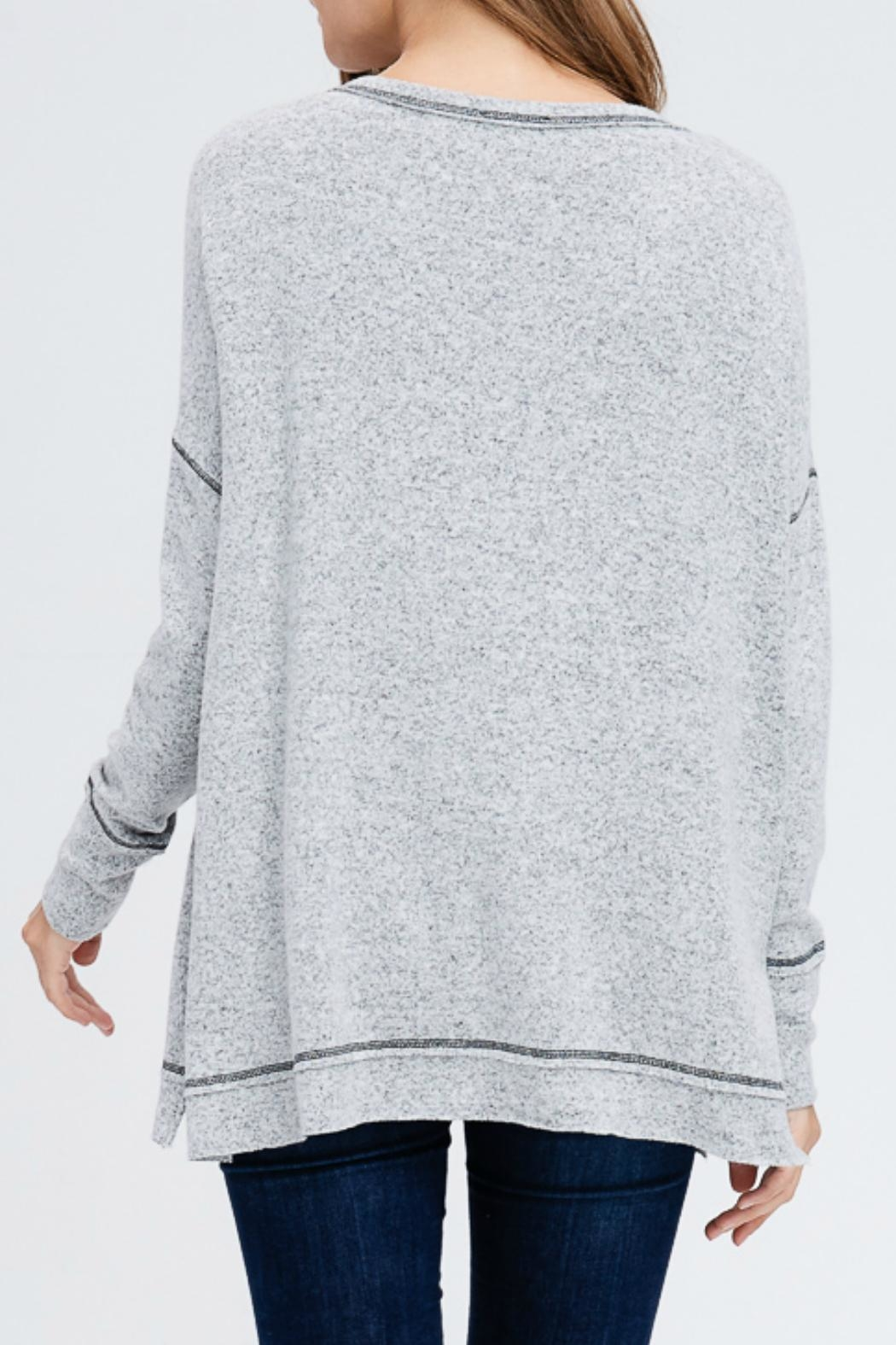 In Loom Heathered Henley Top - Front Full Image