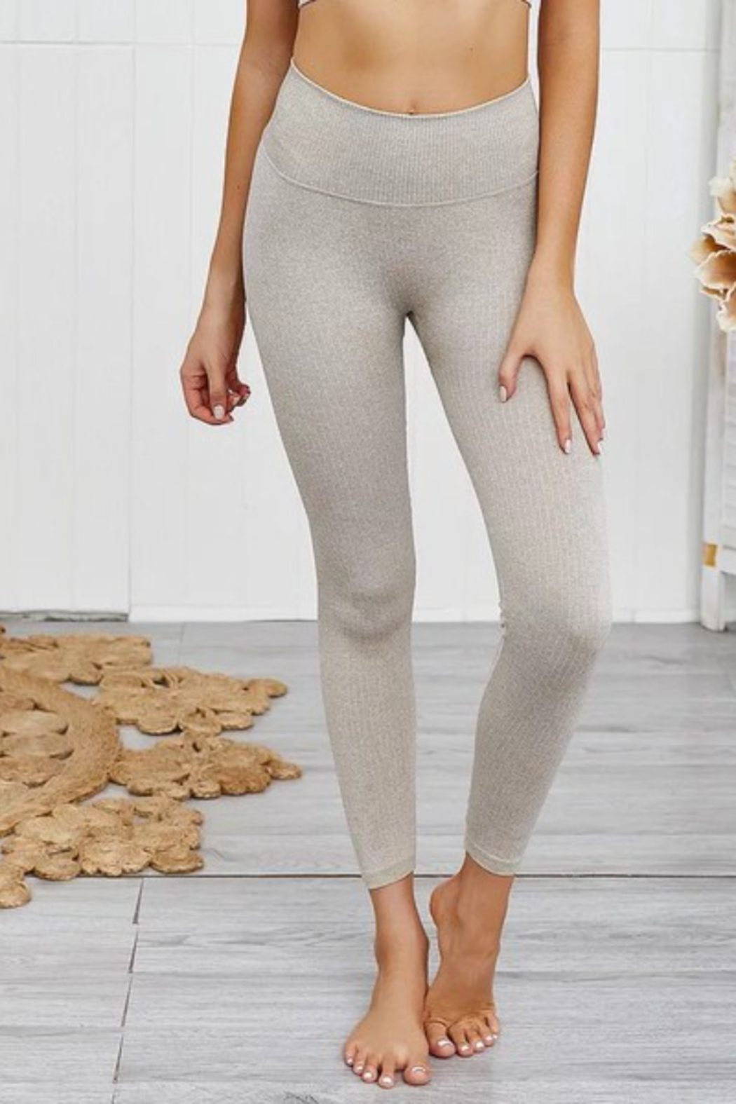 THE FREE YOGA Heathered Oatmeal Leggings - Front Full Image