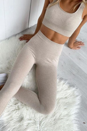 THE FREE YOGA Heathered Oatmeal Sports Bra - Front cropped