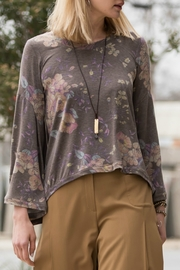 Ivy Jane Heathered Purple-Brown Floral Knit Top With Bell Sleeve - Product Mini Image
