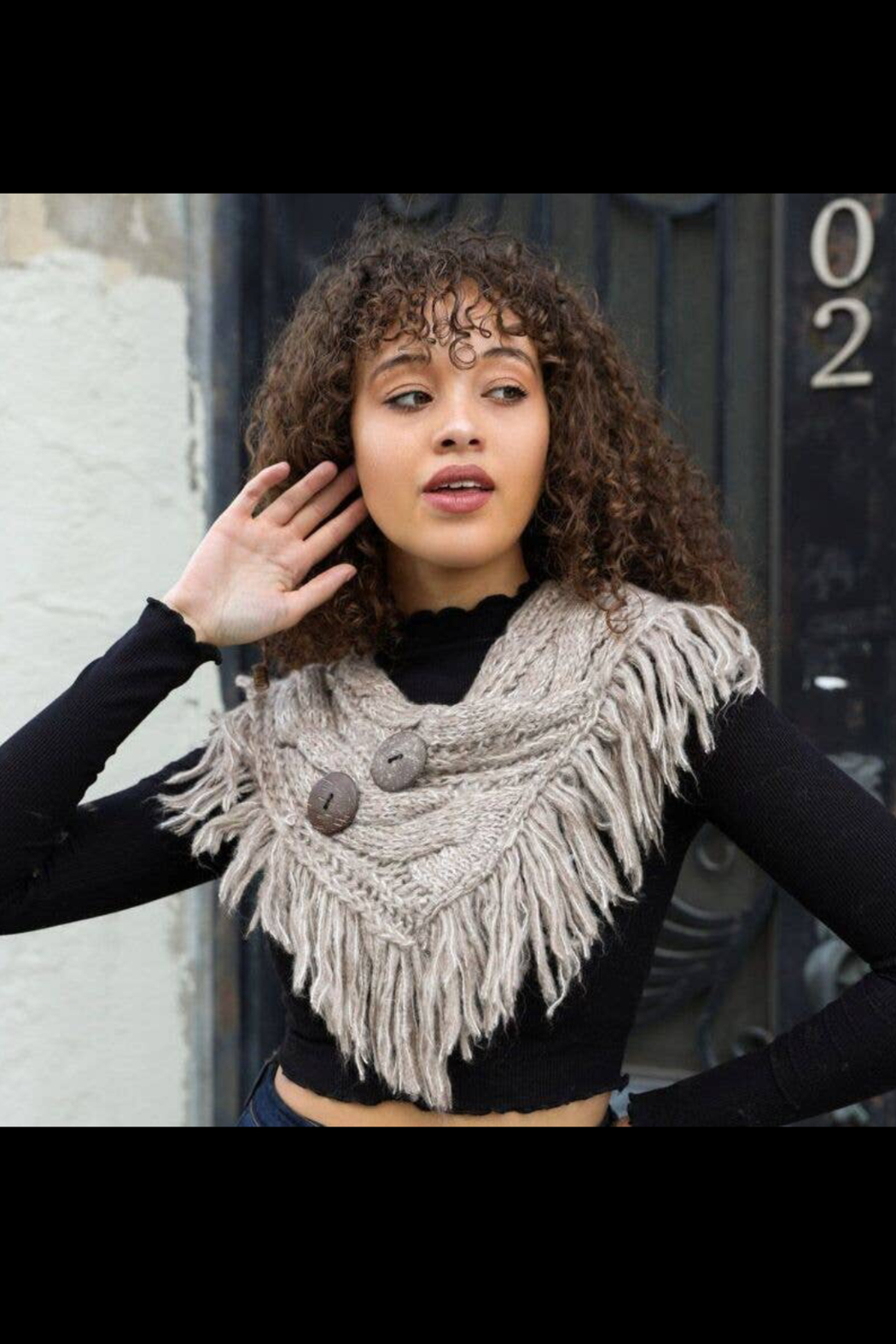 Leto Accessories Heathered Scarf with Coco Buttons - Front Cropped Image