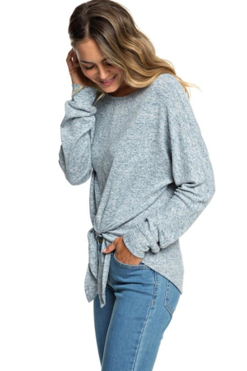 Roxy Heathered Tie-Front Pullover - Back Cropped Image