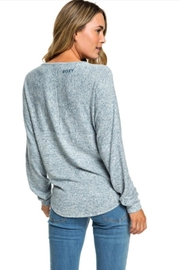 Roxy Heathered Tie-Front Pullover - Front full body