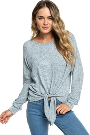 Roxy Heathered Tie-Front Pullover - Side cropped