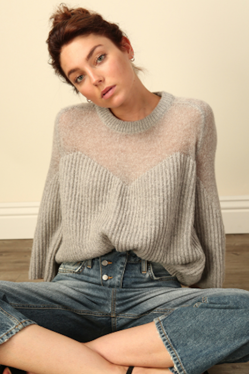 Line & Dot Heavenly Sheer Sweater - Front Full Image