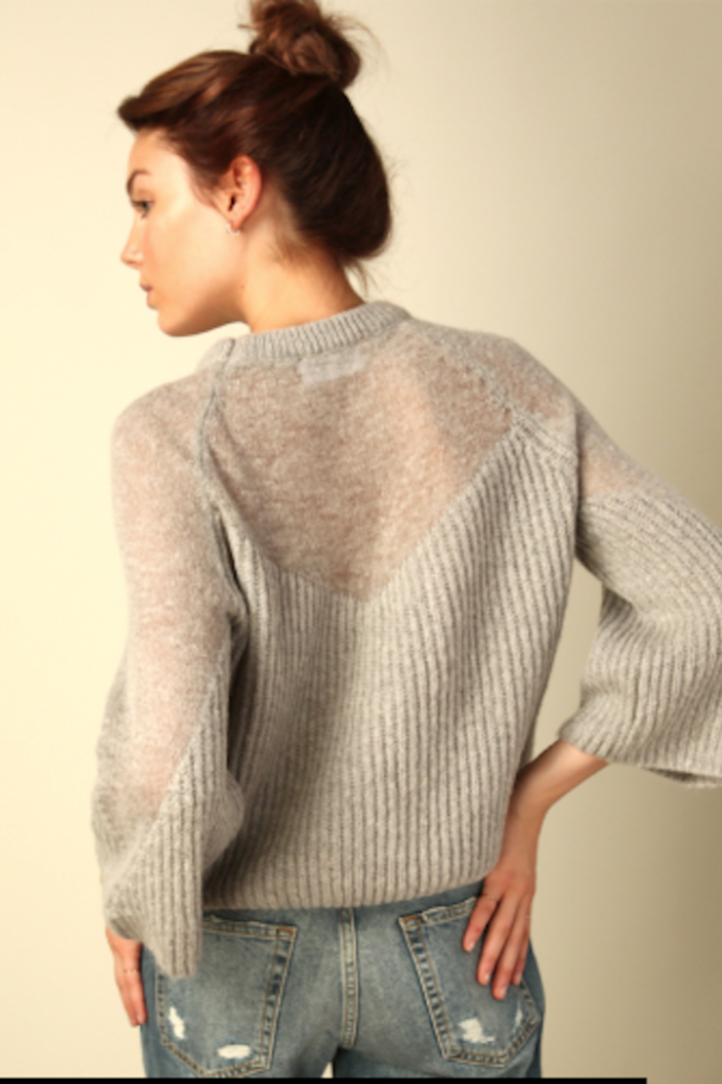 Line & Dot Heavenly Sheer Sweater - Back Cropped Image