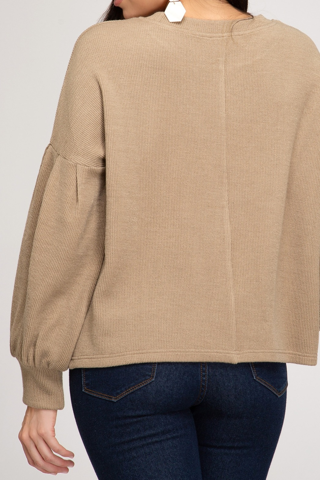 She and Sky Heavy Knit Top - Front Full Image