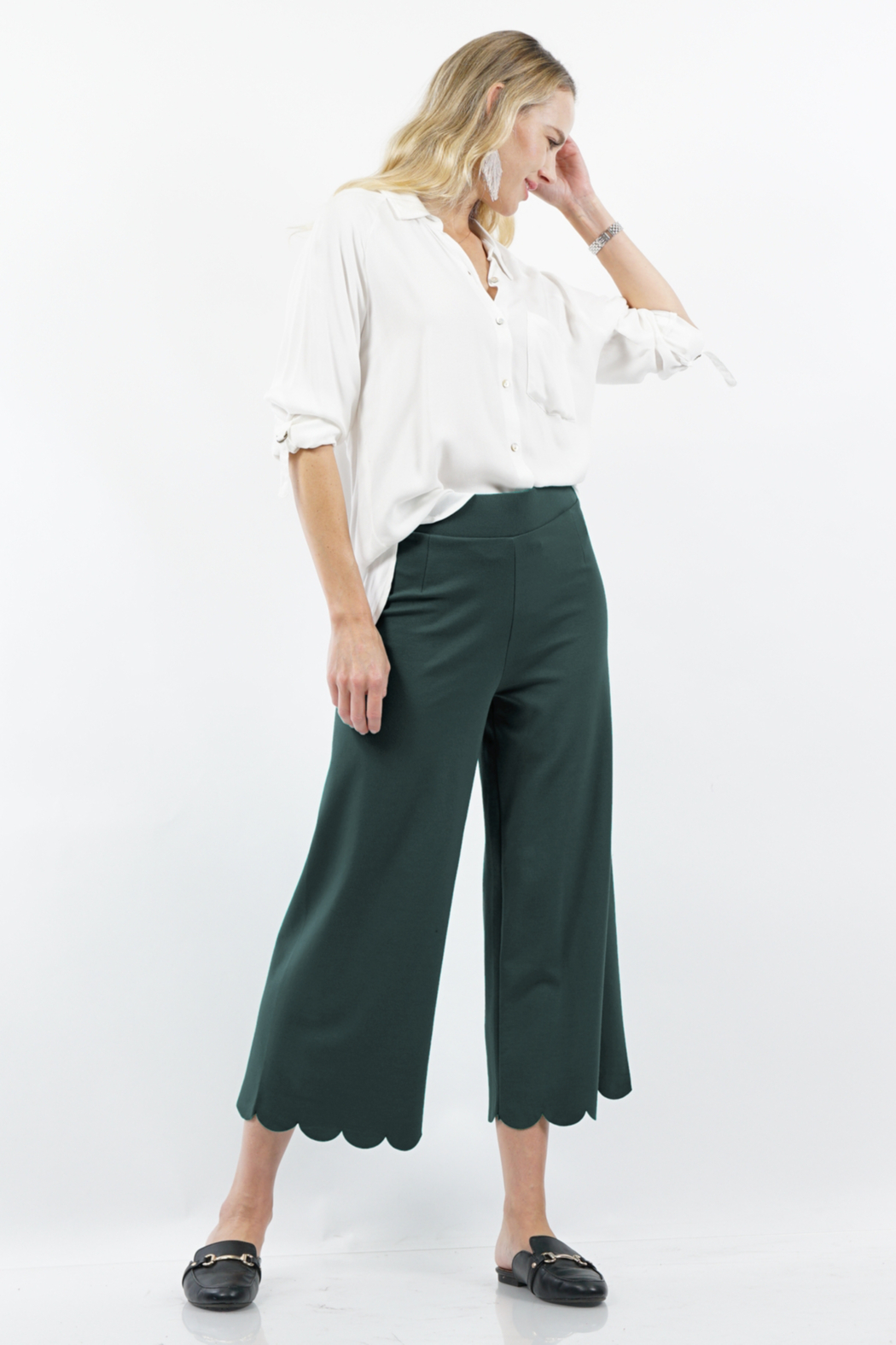 Zenana Outfitters Heavy Ponte High Rise Scallop Crop Pants - Main Image