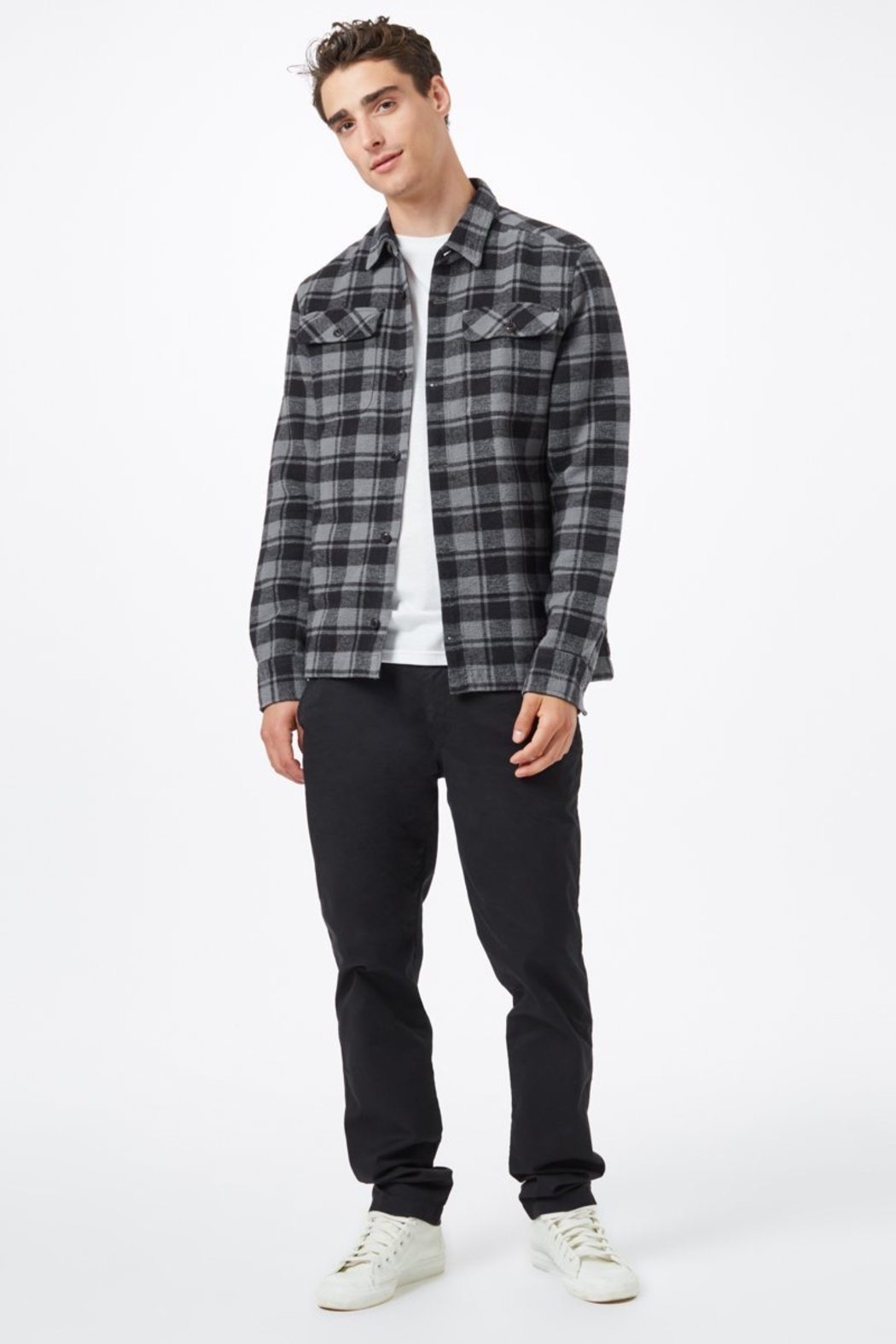 Ten Tree Heavy Weight Flannel Shirt - Side Cropped Image