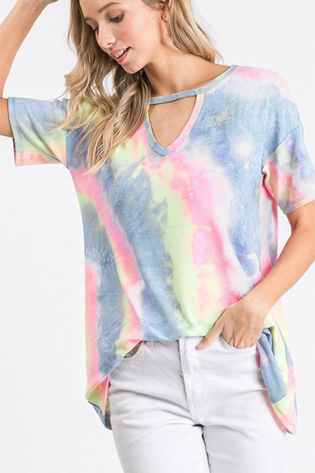 Heimish Tie-Dye Keyhole Top - Front Cropped Image