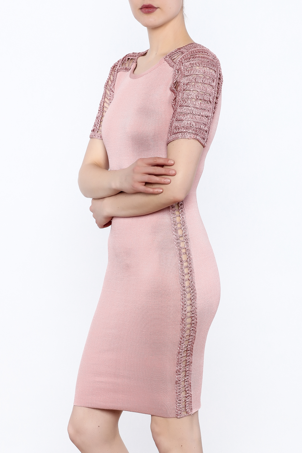 Heiress Boutique Pink Bandage Dress - Front Cropped Image