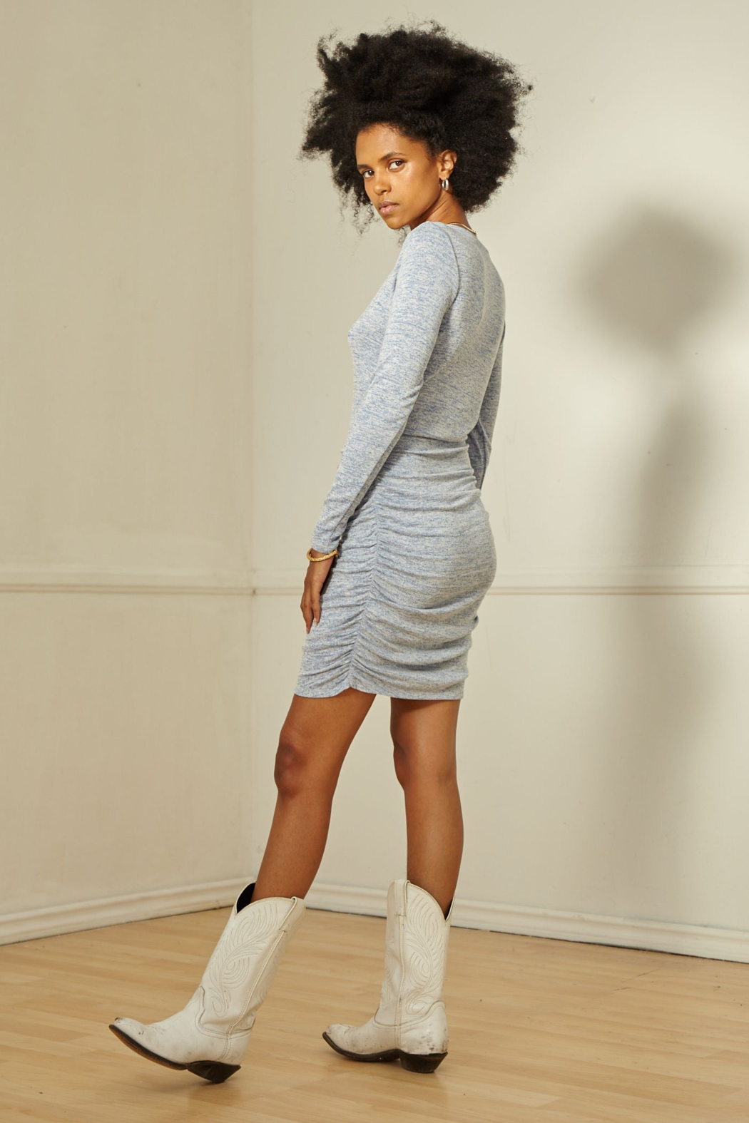 SAGE THE LABEL HELENA RUCHED MINI DRESS - Side Cropped Image