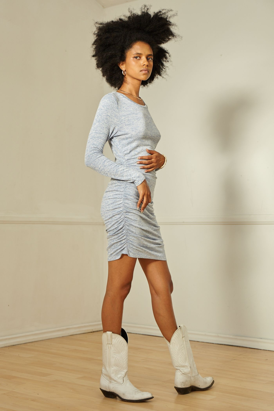 SAGE THE LABEL HELENA RUCHED MINI DRESS - Front Full Image