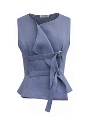 Helena Jones Linen Fitted Vest - Product Mini Image