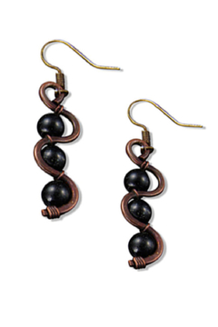 Anju Handcrafted Artisan Jewelry Helical Onyx Earrings - Alternate List Image