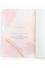 Lyn -Maree's Hell YES - F No, Watercolor Inspirational Mantra Notebook - Front full body